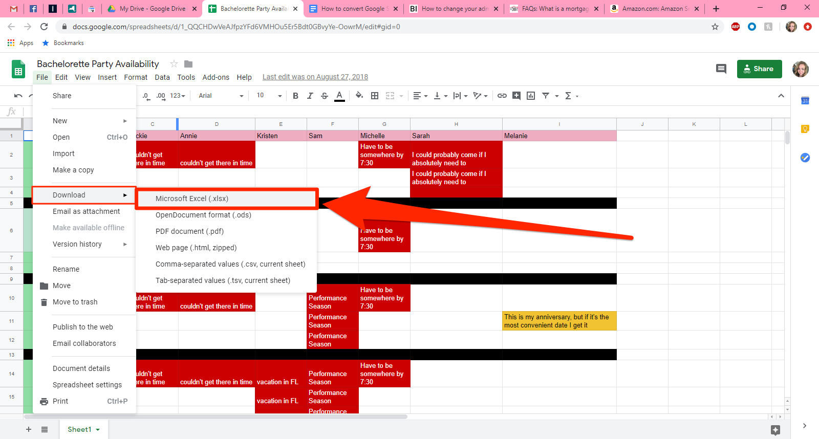 How to convert Google Sheets to Excel   2